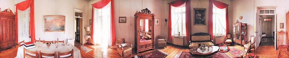 Wide-angle view of the sitting-room, 1st floor, 2001.