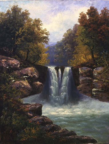 Nicosia, private collection, oil painting of a waterfall.