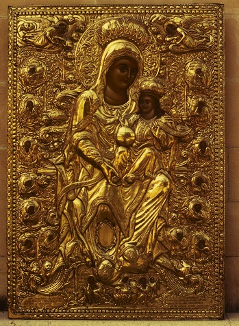 Lemesos, church of Agia Phyla, gold-plated silver icon cover of Panagia Agia Fylaxis.