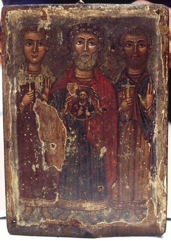 Larnaka, Bishop's Palace, icon of Saints Minas, Victor and Vikentios.