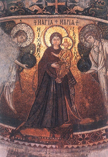 Kiti, church of Panagia Angeloktistos, mosaic of St. Mary.