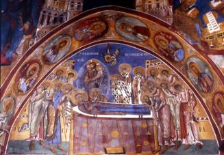 Lagoudera, monastery of Panagia Arakiotissa, mural of the Dormition.