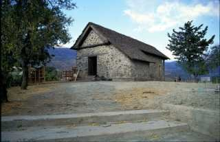 Kyperounta, the Chapel of the Holy Cross, 1521, during restoration work in 1994, before the setting up of the museum.