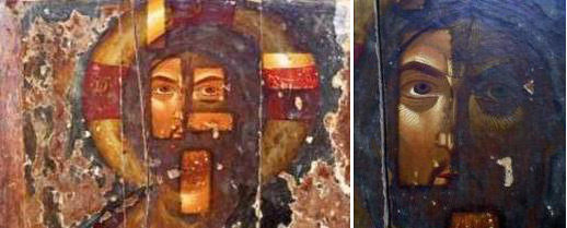 The icon of Christ, Kolossi village, 14th century, during cleaning by Marco Morelli in 1995