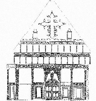 Drawing of the iconostasis of Prodromos, 18th and 19th centuries, conserved in 1998 and 1999. Financed by the Anastasios G. Leventis Foundation.