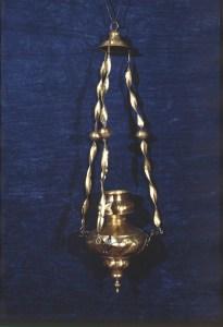 Bronze vigil lamp from Klonari village, 16th century, after treatment, by A.Georgiadis, 1991.
